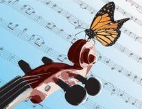 Mariposa en el violín Imágenes de archivo libres de regalías