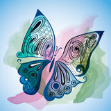 Mariposa en estilo del color de agua Fotos de archivo