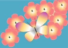 Mariposa en las flores color de rosa ilustración del vector