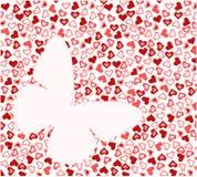 Mariposa en textura del corazón Imagen de archivo libre de regalías
