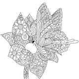 Mariposa en un vector del libro de colorear de la flor para los adultos Imagen de archivo