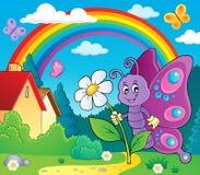Mariposa feliz que lleva a cabo el tema 2 de la flor stock de ilustración