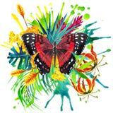Mariposa, hojas tropicales y flor exótica Imagen de archivo