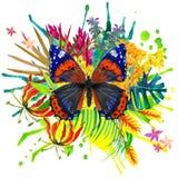 Mariposa, hojas tropicales y flor exótica Fotos de archivo libres de regalías