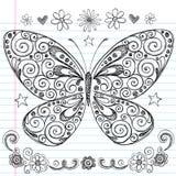 Mariposa incompleta de nuevo a Doodles de la escuela stock de ilustración