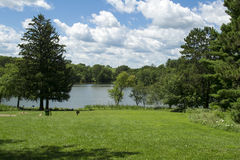 Mariposa Lake and Recreational Park. Entrance view of Mariposa Recreational Area overlooking the lake. Located in Jasper County, Iowa near Newton stock image