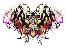 Mariposa linear colorida con los corazones rojos Imagenes de archivo