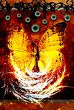 Mariposa llevada en fuego stock de ilustración