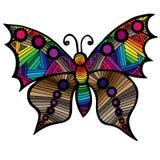 Mariposa multicolora para el tatuaje, libro de colorear para el adulto y niño Foto de archivo libre de regalías