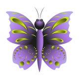 Mariposa púrpura con el modelo Fotos de archivo libres de regalías