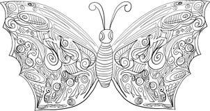 Mariposa que colorea para los adultos y más viejos niños stock de ilustración