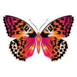 Mariposa roja hermosa brillante Ilustración del vector aislada