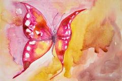 Mariposa rosada con el fondo amarillo Fotos de archivo