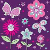 Mariposa y flores lindas Foto de archivo