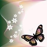 Mariposa y flover ilustración del vector