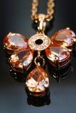 Mariposa y jadenecklace de oro Imagen de archivo libre de regalías
