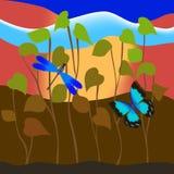Mariposa y libélula en hierba Foto de archivo