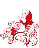 Mariposa y ornamento del florel, elemento para el diseño stock de ilustración