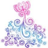 Mariposa y vector del Doodle de los remolinos Imagenes de archivo