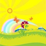Mariposas arco iris y flor del campo ilustración del vector