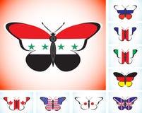 Mariposas con las banderas del Grupo de los Ocho y de Siria de los países Imágenes de archivo libres de regalías