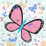 Mariposas contra un cielo azul Imitación de los dibujos de los niños Fotografía de archivo libre de regalías