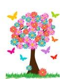 Mariposas de las flores del árbol de la primavera fotografía de archivo