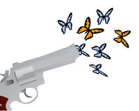 Mariposas del shooting del arma Fotos de archivo libres de regalías