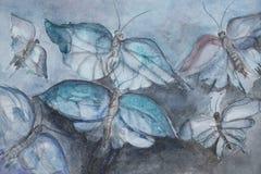 Mariposas del vuelo sobre la hora azul Imágenes de archivo libres de regalías