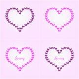 Mariposas en forma de corazón del vuelo de la mariposa, rosadas y negras trama Foto de archivo libre de regalías