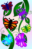 Mariposas en las hojas de la primavera Fotos de archivo