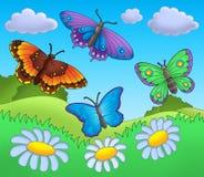 Mariposas en prado stock de ilustración