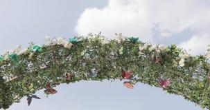 Mariposas en un arco decorativo metrajes