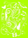 Mariposas estilizadas del resorte en verde Foto de archivo libre de regalías