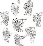 Mariposas florales ornamentales Fotografía de archivo libre de regalías