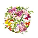 Mariposas, flores, hierba de prado Fondo floral redondo watercolour stock de ilustración