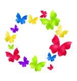 Mariposas a mano abstractas de la acuarela en el marco redondo, copia Fotos de archivo libres de regalías