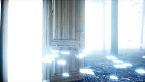 Mariposas que brillan intensamente en puerta del portal de la luz del bosque de la noche de la niebla Mistic y concepto mágico An metrajes