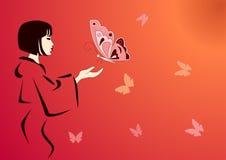 Mariposas que introducen de la mujer Fotografía de archivo