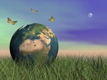 Mariposas que protegen la tierra - 3D rinden Imagen de archivo