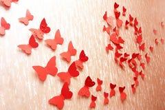 Mariposas rojas decorativas Fotos de archivo libres de regalías