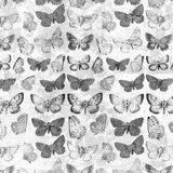 Mariposas sucias antiguas sobre el fondo francés del collage de la factura desaturado Foto de archivo libre de regalías