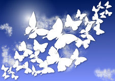 Mariposas y cielo Fotografía de archivo libre de regalías