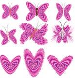Mariposas y corazones Imagenes de archivo
