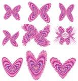 Mariposas y corazones Imágenes de archivo libres de regalías