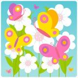 Mariposas y flores stock de ilustración