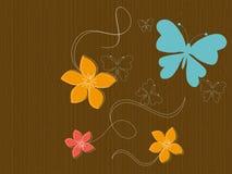 Mariposas y flores en la madera Imagenes de archivo