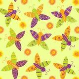 Mariposas y flores inconsútiles del dibujo Foto de archivo libre de regalías