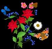 Mariposas y tres rosas brillantes rojas Fotografía de archivo libre de regalías