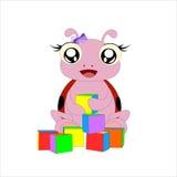 Mariquita de la historieta con los cubos stock de ilustración